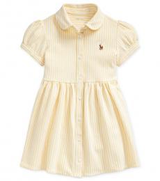 Ralph Lauren Baby Girls Yellow White Striped Knit Dress
