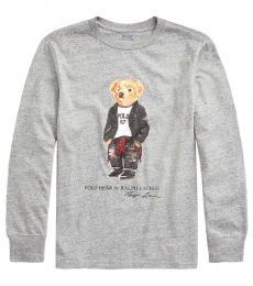 Ralph Lauren Little Boys Light Grey Moto Bear T-Shirt
