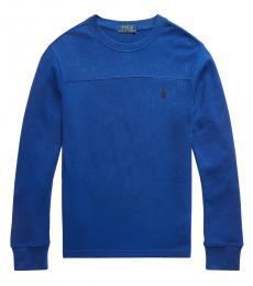 Ralph Lauren Boys Sporting Royal Waffle-Knit T-Shirt