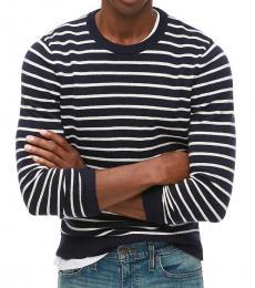 J.Crew Navy Blue Striped Crewneck Sweater