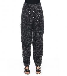 Black Solid Sequins Pants