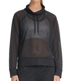 DKNY Black Sport Mesh Funnel-Neck Top