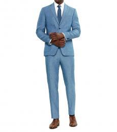 Light Blue Two-Piece Linen Suit