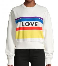 Rebecca Minkoff Ecru Striped Cotton Sweater