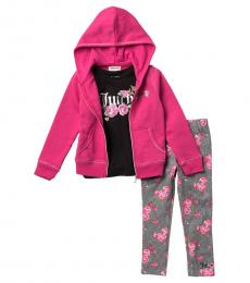 Juicy Couture 3 Piece Hoodie/T-Shirt/Leggings Set (Little Girls)