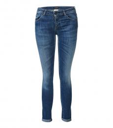 Blue Mid Rise Cotton Jeans