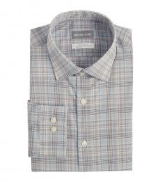 Grey Regular Fit Plaid Dress Shirt