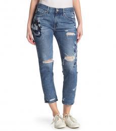 AG Adriano Goldschmied 15 Year Boyfriend Distressed Slim Crop Jeans