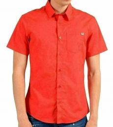 Red Slim Short Sleeve Casual Shirt