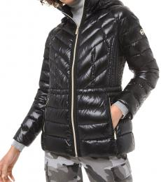 Black Quilted Nylon Packable Down Jacket