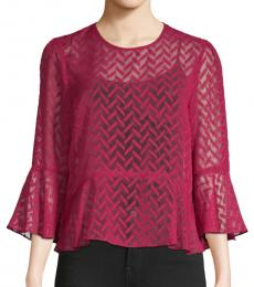 BCBGMaxazria Beet Red Printed Bell-Sleeve Top