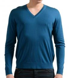 Blue V-Neck Pullover Sweater