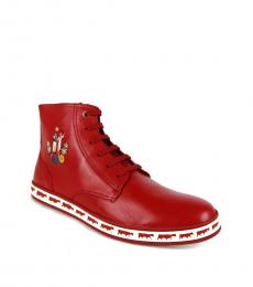 Bally Corvette Red Anistern Hi Top Sneakers
