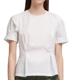 White Pleated Sleeves Peplum Top