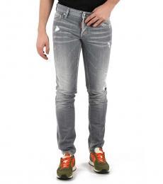 Dsquared2 Light Grey Distressed Slim Jeans