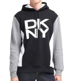 DKNY Black Color Block Logo Hoodie