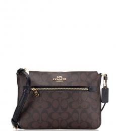 Coach Brown Black Gallery Medium Crossbody