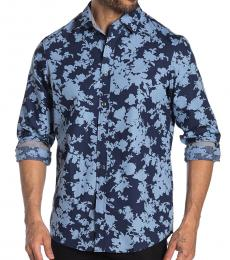 Chambray Classic Fit Flower Print Shirt