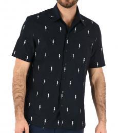 Navy Blue Short Sleeves Loose Fit Shirt