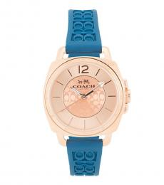 Coach Teal Logo-Embossed Watch