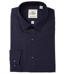 Navy Blue Tailored Skinny Fit Dress Shirt