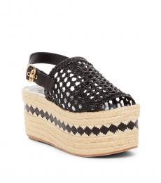 Tory Burch Black Dandy Woven Sandals