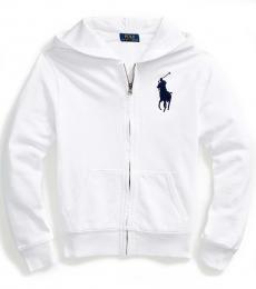 Boys White Big Pony French Terry Hoodie
