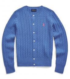 Ralph Lauren Girls Dockside Blue Heather Cable-Knit Cardigan