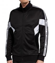 Karl Lagerfeld Black Logo Tape Zipper Jacket