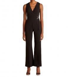 Vince Camuto Black Faux Wrap Belted Jumpsuit