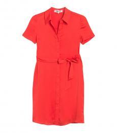 Diane Von Furstenberg Red Short Sleeve Shirt Dress