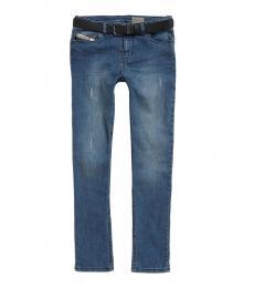 Diesel Boys Indigo Belted Skinny Jeans