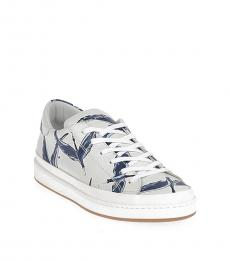 White Blue Printed Sneakers