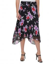 Calvin Klein Black Pleated Floral-Print Skirt