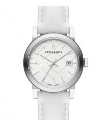 Burberry White-Silver Check Dial Watch