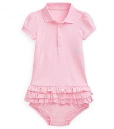 Ralph Lauren Baby Girls Carmel Pink Ruffled Polo Dress