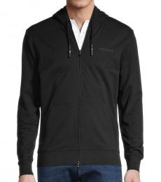 Armani Jeans Black Stretch-Cotton Hoodie