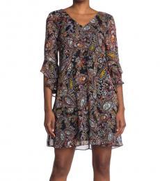 Calvin Klein Black V-Neck Ruffle Sleeve Shift Dress