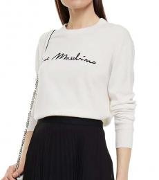 Love Moschino White Embroidered Knitted Sweater