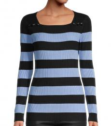 Navy Blue Striped Squareneck Sweater
