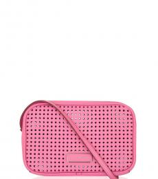 Pink Perforated Small Crossbody