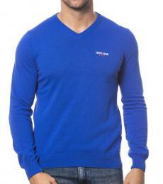 Roberto Cavalli Bluette V-Neck Logo Sweater