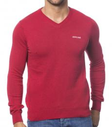 Roberto Cavalli Rosso V-Neck Logo Sweater