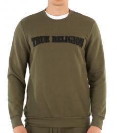 True Religion Olive Contrast Logo Sweatshirt
