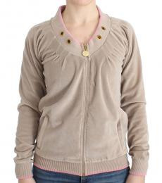 Beige Velvet Zip up Sweater