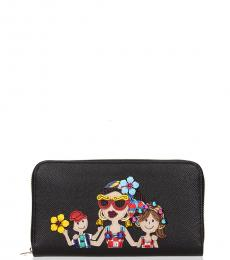 Dolce & Gabbana Black Patch Stone Wallet