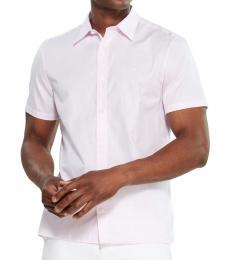Pink Stretch Herringbone Sport Shirt