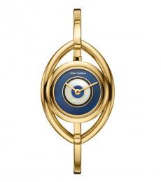 Gold-Navy Eye Bangle Watch