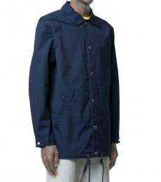 Navy Blue Logo Print Shirt Jacket