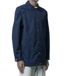 Kenzo Navy Blue Logo Print Shirt Jacket